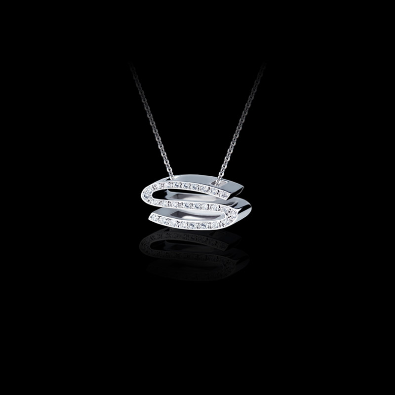 Canturi Alphabet 'S' pendant with pavé set diamonds in 18ct white gold