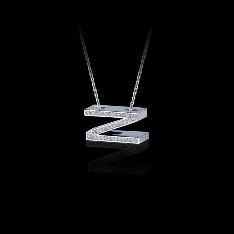 Canturi Alphabet 'Z' pendant with pavé set diamonds in 18ct white gold