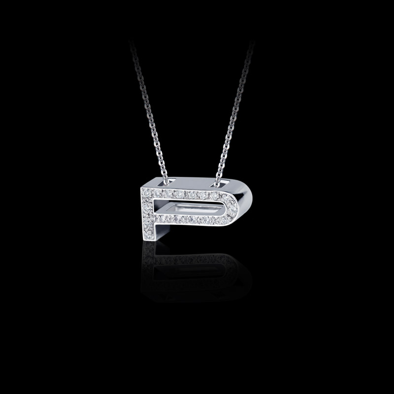 Canturi Alphabet 'P' pendant with pavé set diamonds in 18ct white gold
