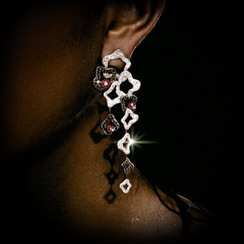 Canturi Island Luxe chandelier drop earrings in 18ct white gold with pink toumalines and black diamonds