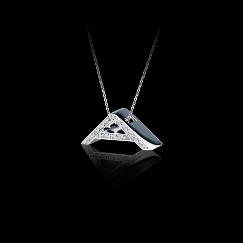 Canturi Alphabet 'A' pendant with pavé set diamonds in 18ct white gold