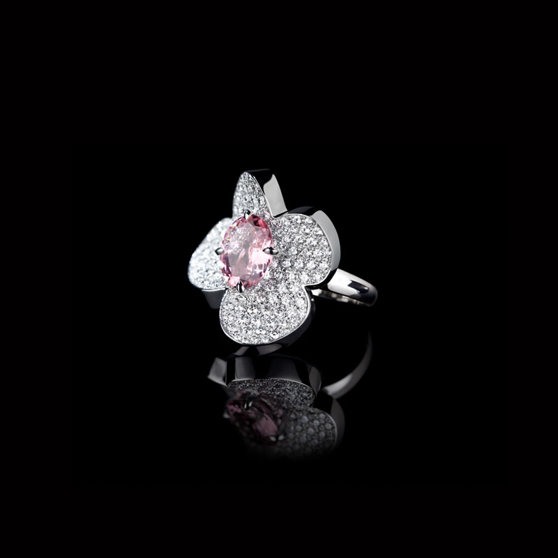 Canturi Odyssey Flower ring with full diamonds and pink tourmaline in 18ct white gold