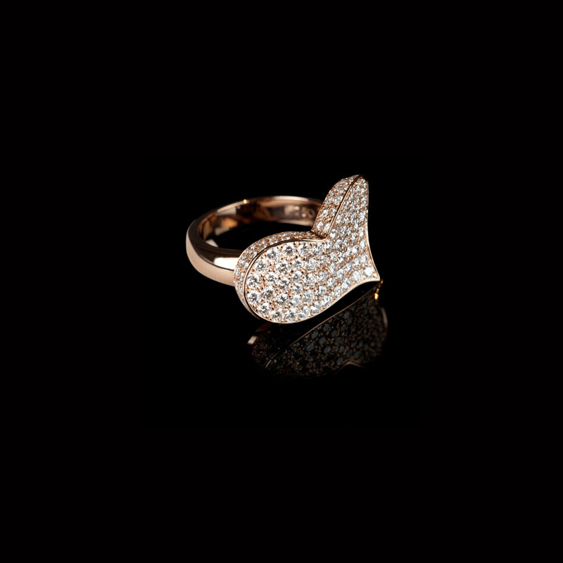 Canturi Odyssey heart ring with full diamonds in 18ct pink gold