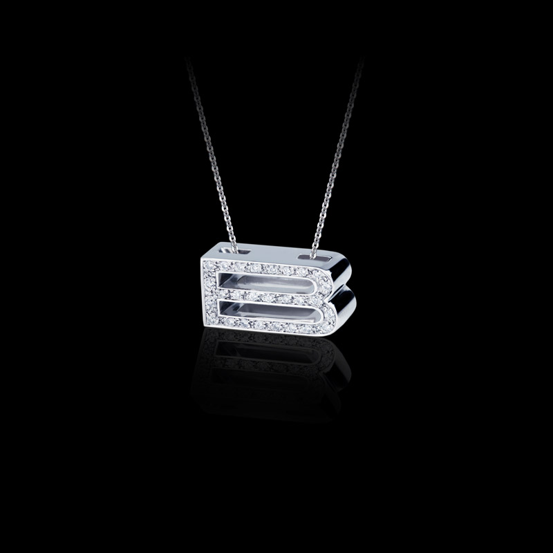 Canturi Alphabet 'B' pendant with pavé set diamonds in 18ct white gold