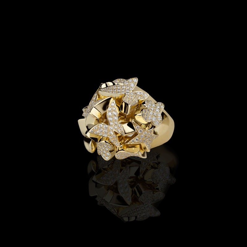 Canturi Odyssey multi-shape ring with diamonds in 18ct yellow gold
