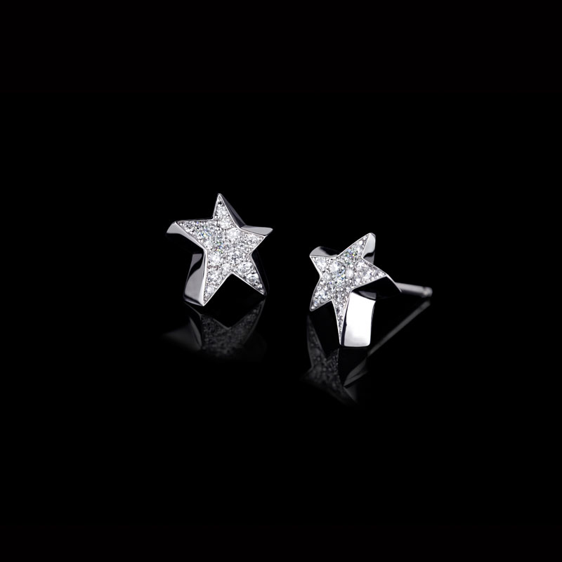 Canturi Odyssey star diamond stud earrings with full diamonds in 18kt white gold
