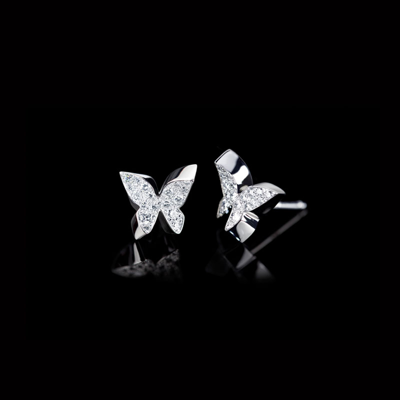 Canturi Odyssey butterfly stud earrings with diamonds in 18ct white gold