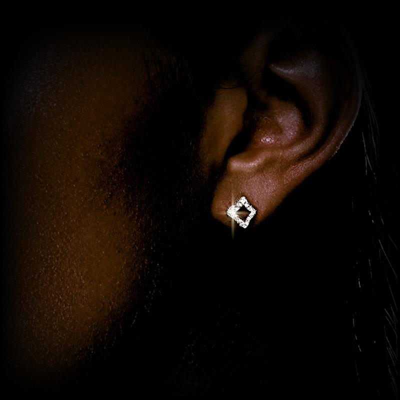 Canturi Island Luxe diamond small stud earrings in 18ct white gold.
