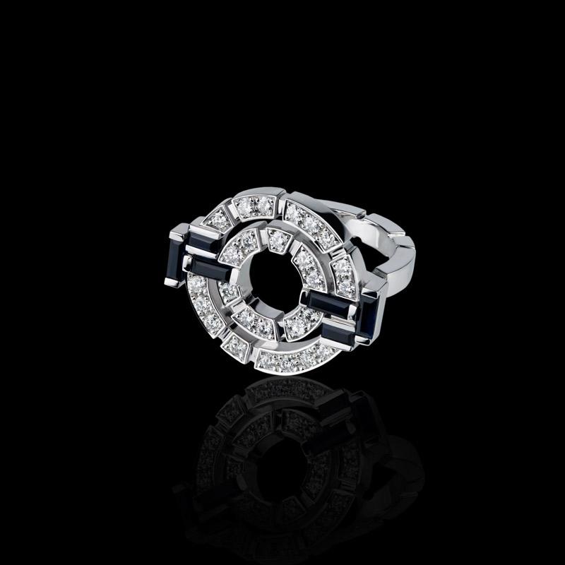 Canturi Regina diamond double link ring with diamonds and Australian black sapphires in 18ct white gold.