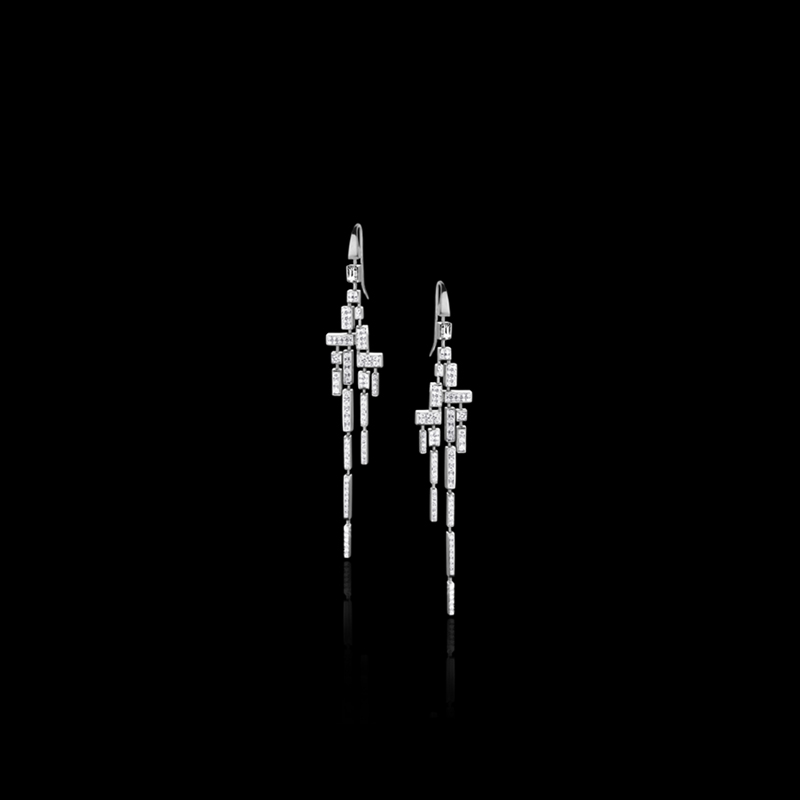 Canturi Cubism 18 drop full diamond earrings in 18kt white gold, also available in yellow and pink gold
