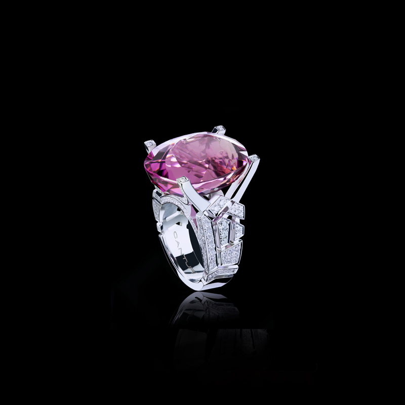 Abstract Cubism diamond ring with pink tourmaline gemstone set in 18ct white gold.