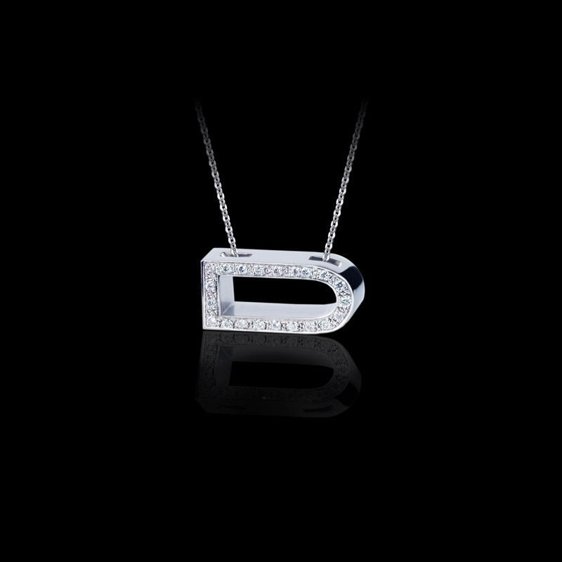 Canturi Alphabet 'D' pendant with pavé set diamonds in 18ct white gold