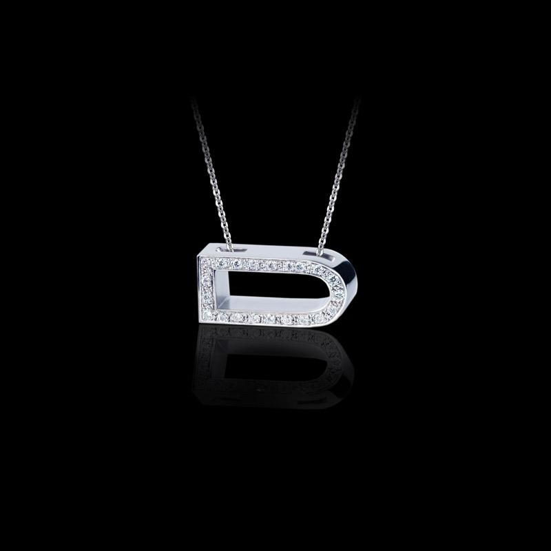 Canturi Alphabet 'D' pendant with pavé set diamonds in 18ct white gold