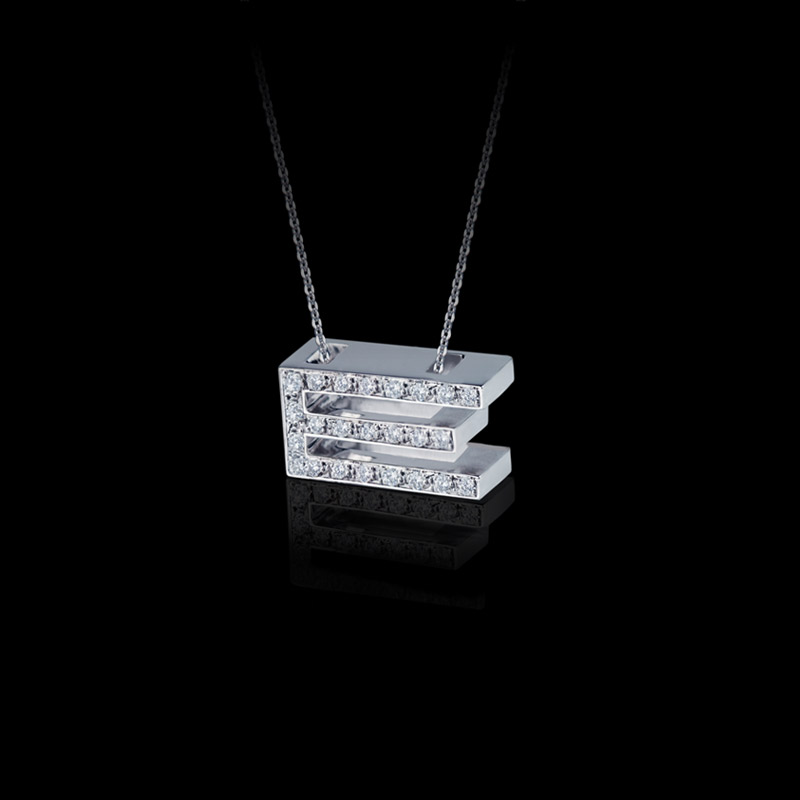 Canturi Alphabet 'E' pendant with pavé set diamonds in 18kt white gold