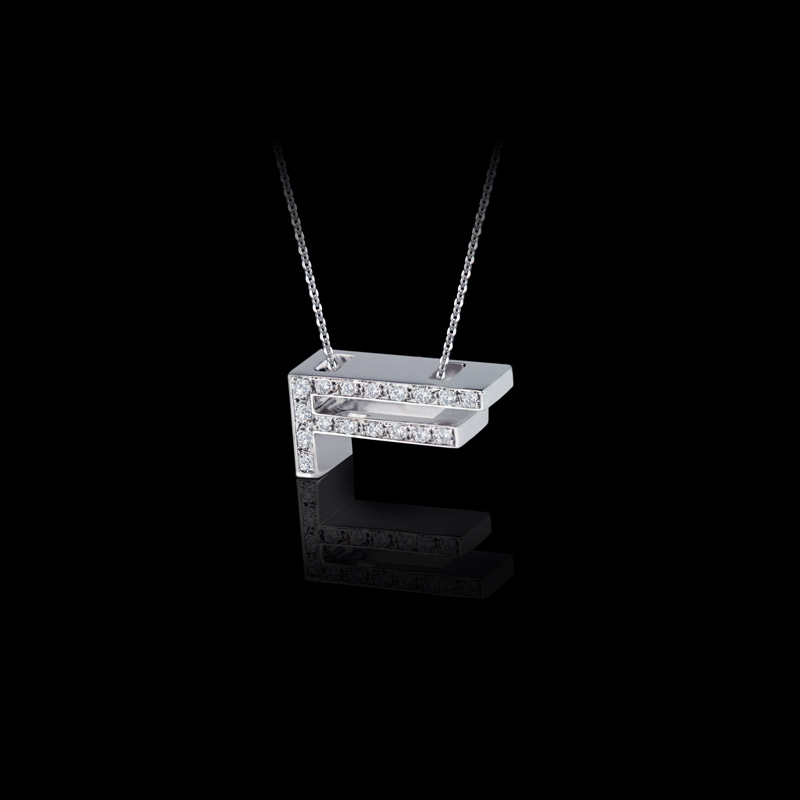 Canturi Alphabet 'F' pendant with pavé set diamonds in 18ct white gold