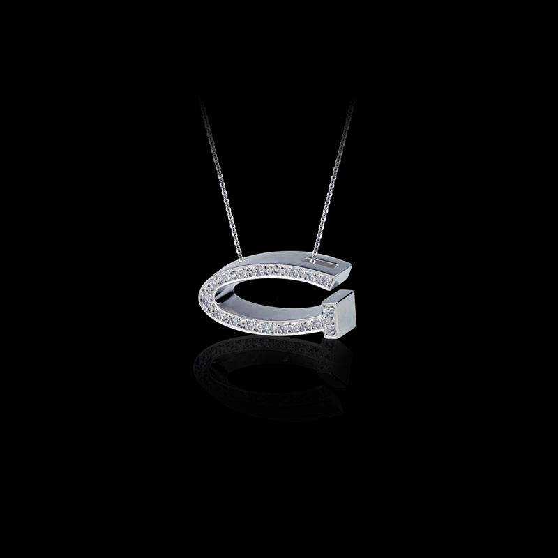 Canturi Alphabet 'G' pendant with pavé set diamonds in 18ct white gold