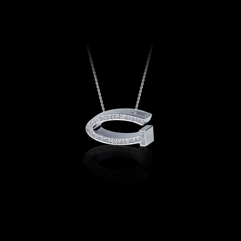 Canturi Alphabet 'G' pendant with pavé set diamonds in 18ct white gold