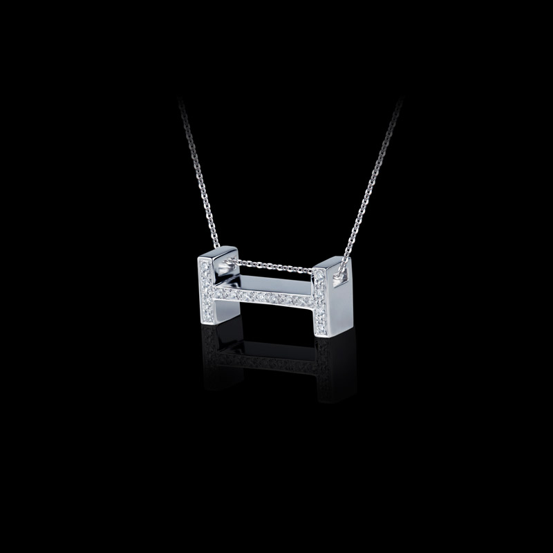 Canturi Alphabet 'H' pendant with pavé set diamonds in 18ct white gold