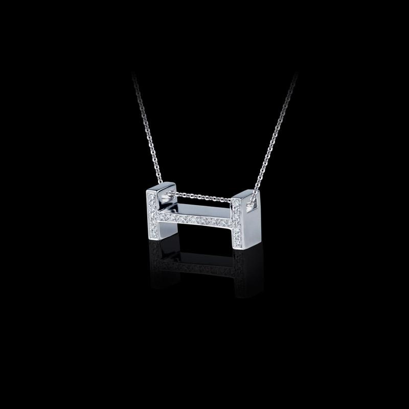 Canturi Alphabet 'H' pendant with pavé set diamonds in 18ct white gold