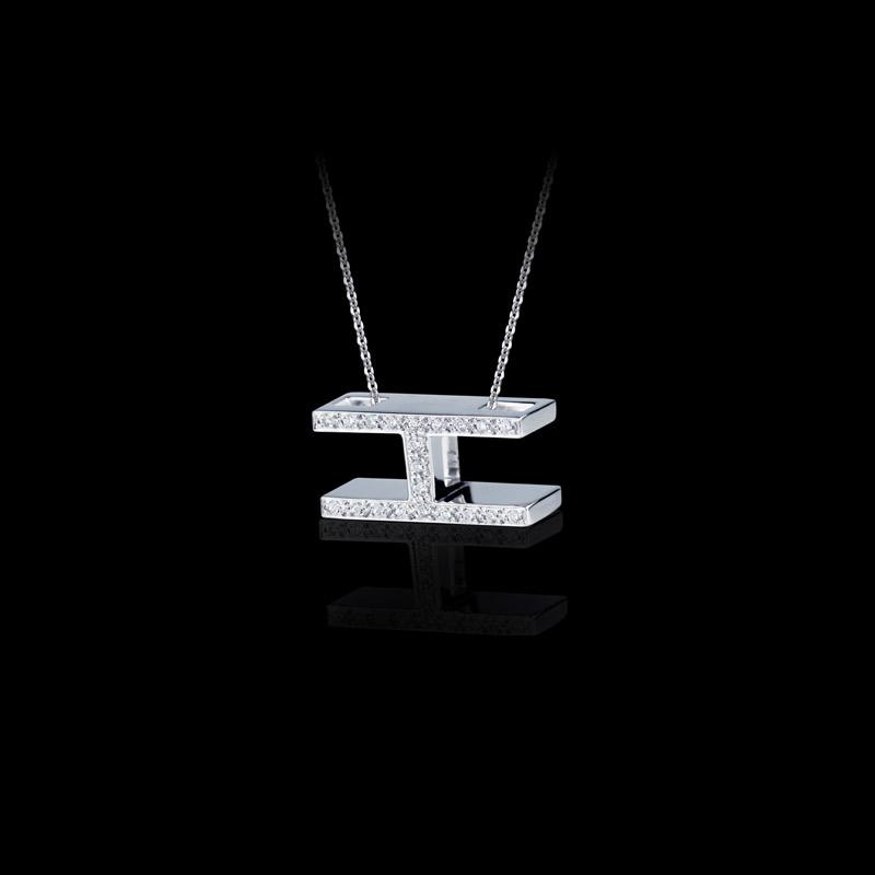 Canturi Alphabet 'I' pendant with pavé set diamonds in 18ct white gold