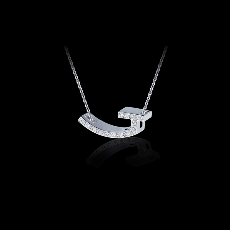 Canturi Alphabet 'J' pendant with pavé set diamonds in 18kt white gold