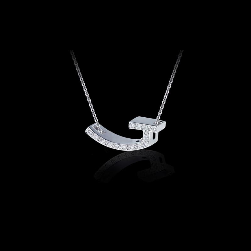 Canturi Alphabet 'J' pendant with pavé set diamonds in 18kt white gold