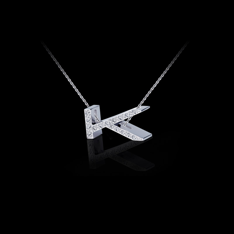 Canturi Alphabet 'K' pendant with pavé set diamonds in 18ct white gold