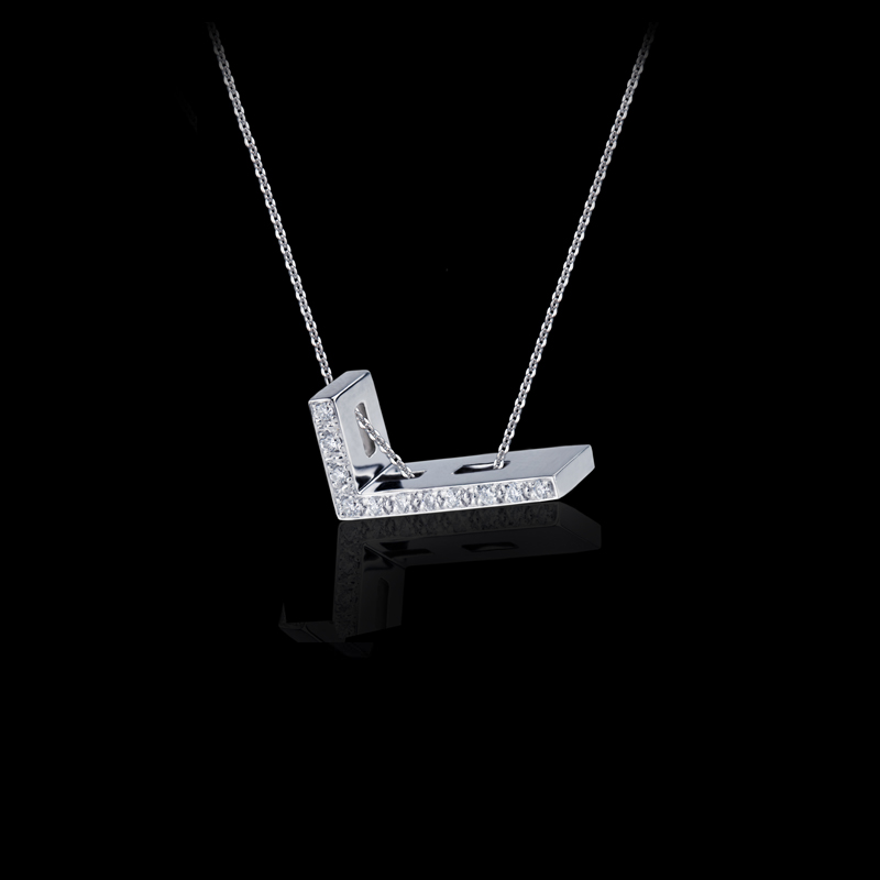 Canturi Alphabet 'L' diamond pendant and chain in 18ct white gold.