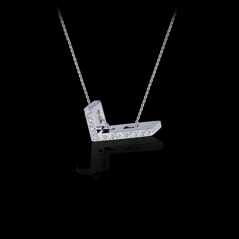Canturi Alphabet 'L' diamond pendant and chain in 18ct white gold.