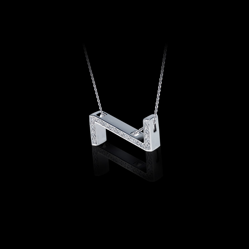 Canturi Alphabet 'N' pendant with pavé set diamonds in 18ct white gold