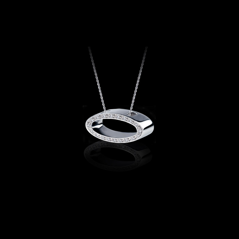 Canturi Alphabet 'O' pendant with pavé set diamonds in 18ct white gold