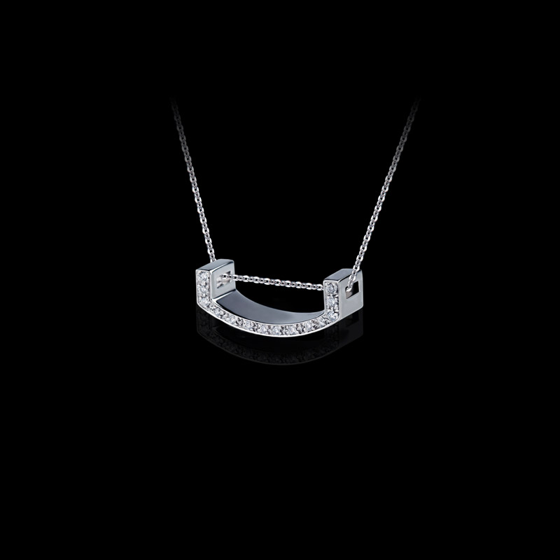 Canturi Alphabet 'U' pendant with pavé set diamonds in 18ct white gold