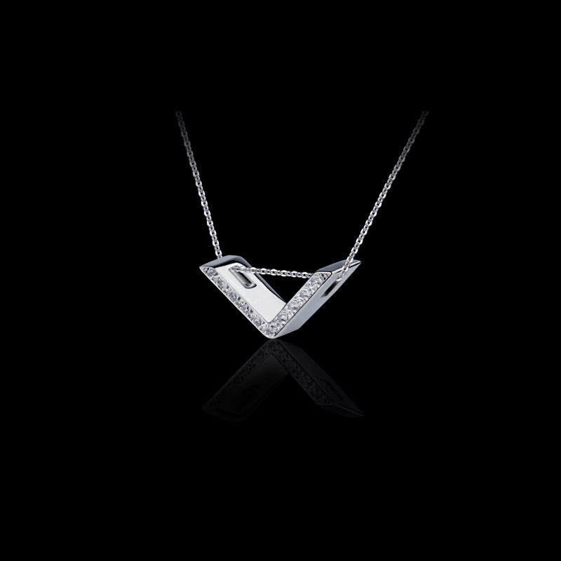 Canturi Alphabet 'V' pendant with pavé set diamonds in 18ct white gold