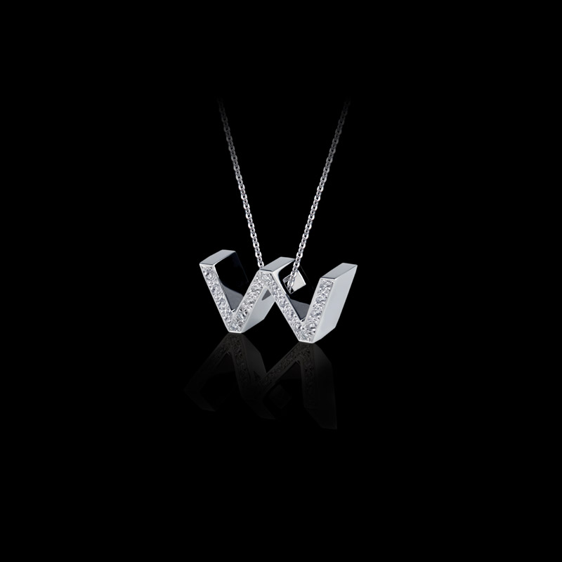 Canturi Alphabet 'W' pendant with pavé set diamonds in 18ct white gold