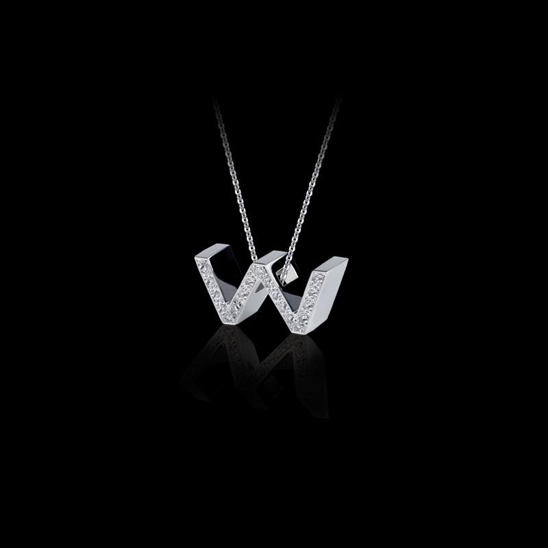 Canturi Alphabet 'W' pendant with pavé set diamonds in 18ct white gold