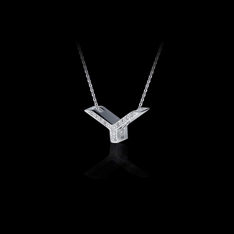 Canturi Alphabet 'Y' pendant with pavé set diamonds in 18ct white gold