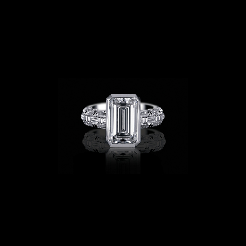 Canturi Bamboo diamond engagement ring with emerald cut diamond in 18kt white gold