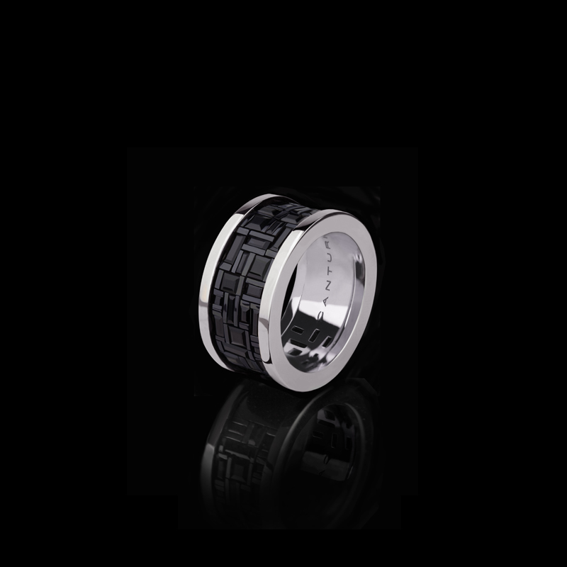 Cubism wide ring with Australian black sapphires in 18ct white gold.