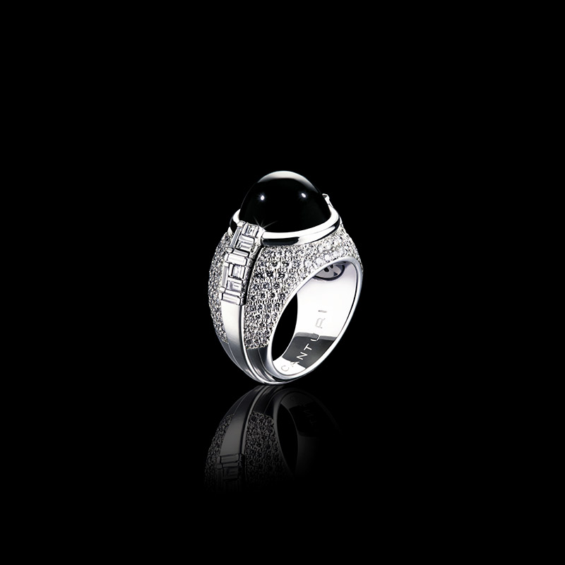 Canturi Cubism Cabochon sapphire ring with Cubism set and pave diamonds in 18ct white gold