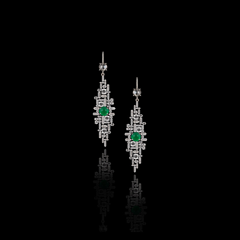 Canturi Cubism diamond earrings with Columbian emeralds in 18ct white gold