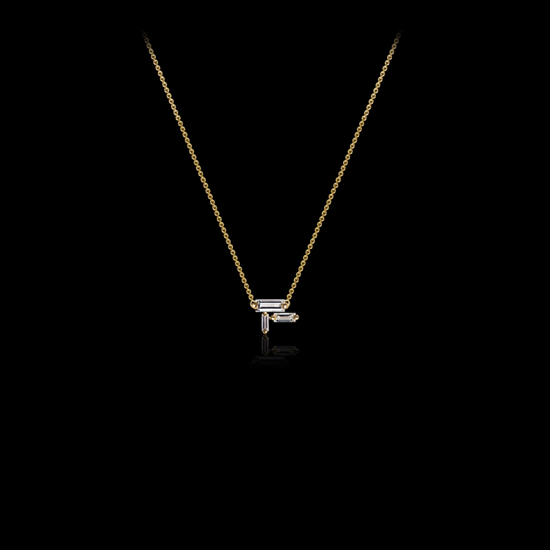 Canturi Cubism baguette cut diamond pendant in 18ct yellow gold.
