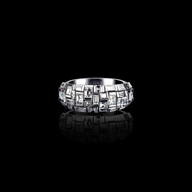 Canturi Cubism domed ring with Cubism set diamonds in 18ct white gold
