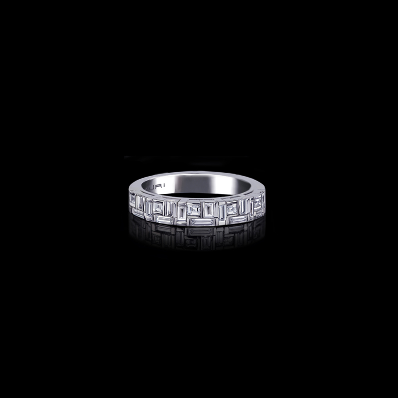 Canturi Cubism baguette and carré cut diamond wedding band in 18ct white gold, also available in yellow and pink gold