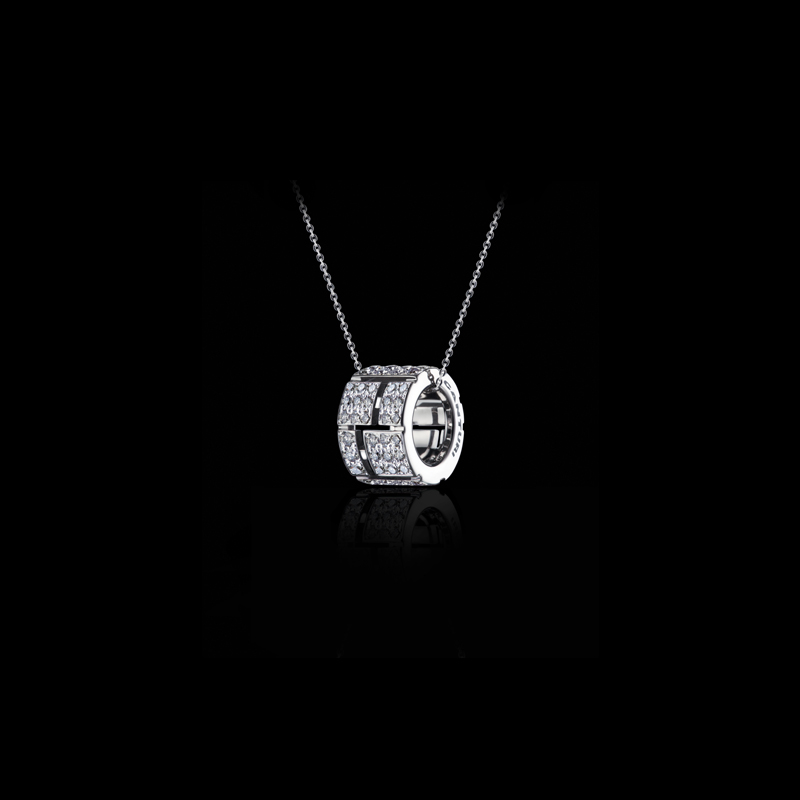 Cubism Pavé slide pendant with full diamonds and chain in 18ct white gold, also available in yellow and pink gold