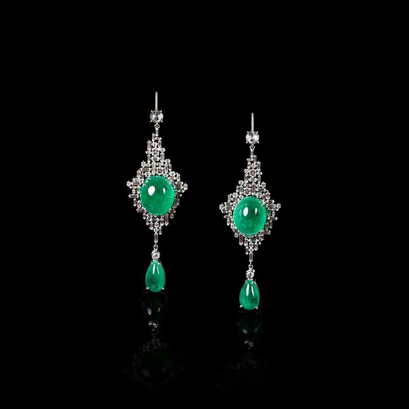 Canturi Cubism emerald drop earrings in 18kt white gold