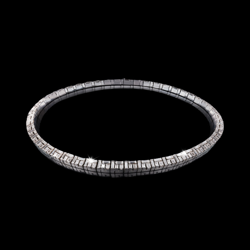 Canturi Cubism diamond necklace in 18kt white gold
