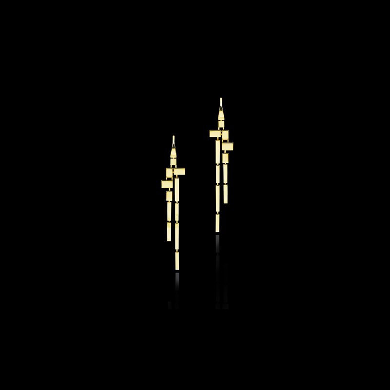 Canturi Cubism 11 drop plain earrings in 18ct yellow gold. Also available in white or pink gold.
