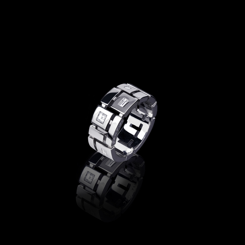 Cubism Punch Set Ring 9mm With Diamonds