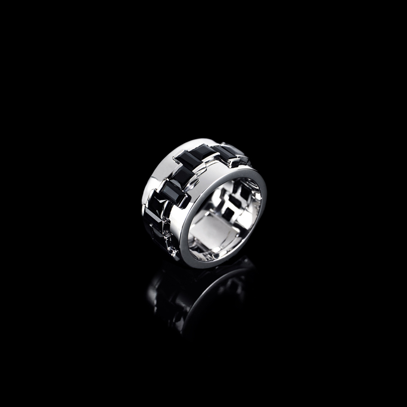 Canturi Cubism Radiant ring featuring baguette and carré cut Australian black sapphires in 18kt white gold, also available in yellow or pink gold