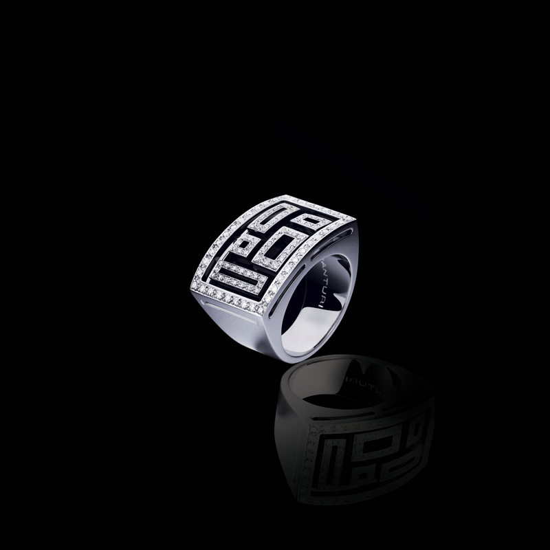 Canturi Cubism pavé diamond stage ring featuring open lace geometric patterns with black antique finish, in 18ct white gold.